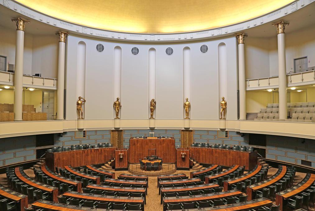 Зал заседаний Парламента в современном виде.  Источник: Википедия